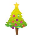 tree christmas with christmas balls and star isola vector image