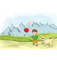 Funny kid playing with a dog on the mountain side vector image