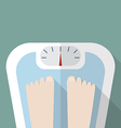 Bare feet on weight scale vector image