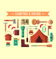 camping flat set with hiking equipment vector image