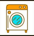cartoon white washing machine with orange top vector image