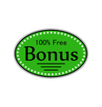 catchy sticker bonus 100 percent free vector image