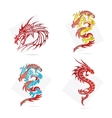 glass creative elegance dragons symbols set vector image