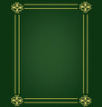 green background with ornament golden frame vector image