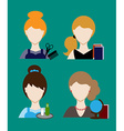 Profession people hairdresser teacher secretary vector image
