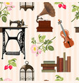 vintage objects pattern vector image