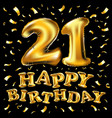 21 anniversary logo celebration with golden vector image