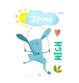 Rabbit jumping rope for kids vector image