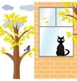 Cat and bird in autumn vector image