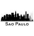Sao Paulo City skyline black and white silhouette vector image