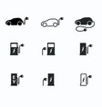 Electric powered car and charging point icons vector image