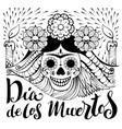 mexican zentangle dia de los muertos text day of vector image