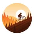 mountain bike climbing round icon vector image