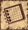 Notebook with cells isolated on vintage background vector image
