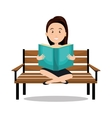 woman reading textbook icon vector image