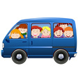 Children having carpool in blue van vector image