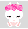 Little cute white bunny with pink roses Romantic vector image