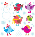 Set of winter birds and snow man vector image vector image