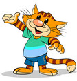 cartoon red stripped cat vector image