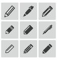 black pencil icons set vector image