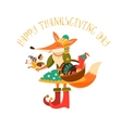 Thanksgiving day Cute fox with turkey in the vector image