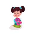 adorable brunette little girl sitting on the floor vector image