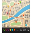 City map with navigation icons vector image
