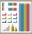 full color pencil design for graph vector image