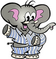 Hand-drawn of an Happy Baby Elephant in Pajamas vector image