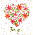 heart made of watercolor flowers vector image