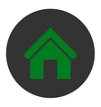 Home flat green and gray colors round button vector image