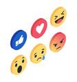 set isometric emoji reactions like social vector image