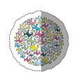 sticker colorful circular pattern fish aquatic vector image