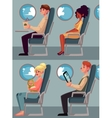 Set of airplane passengers seating in economy vector image