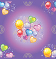 seamless pattern with colorful balloons on purple vector image vector image