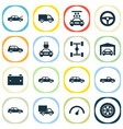 car icons set collection of wheel fixing truck vector image