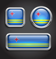 Aruba flag glass buttons vector image vector image