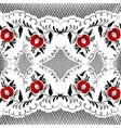 Seamless floral pattern in black and white with re vector image vector image