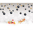 christmas balls background with santa claus and vector image