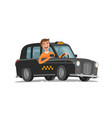 happy driver is driving taxi passenger vector image