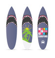 surfboard set with shark design color vector image