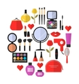 Cosmetic Makeup and Beauty flat Icons Set vector image