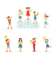 happy young children holding their golden trophies vector image