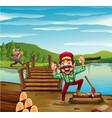 two lumber jacks chopping woods vector image