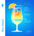 Blue Hawaii cocktail vector image