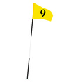 Yellow golf flag with number nine vector image