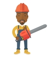 Black Lumberjack cuts a tree by chainsaw vector image