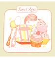 Cupcake Birthday Card vector image