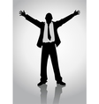 Businessman standing with open arms vector image