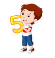 cute child holding balloon with number five vector image